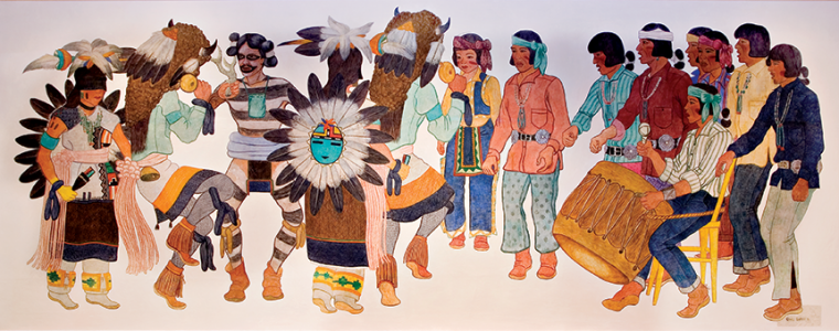 Charles Loloma (Hopi), Buffalo Dance mural, c. 1940, tempera paint on muslin. Anonymous donor.