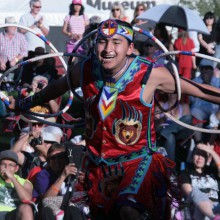 Nakotah LaRance (Hopi/Tewa/Assiniboine) of Ohkay Owingeh Pueblo, N.M., earned 241 points to become the 2015 adult world champion hoop dancer at the 25th annual Heard Museum World Championship Hoop Dance Contest.