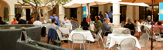 Photograph of patio seating at the Courtyard Café