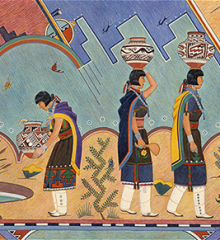Detail of a watercolor on paper painting by Gilbert Atencio 'Wah-Peen' (San Ildefonso Pueblo)