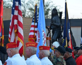 Color guards led by one from the American Legion Ira Hayes Post 84, Sacaton, participate in the November 2012 dedication of the American Indian Veterans National Memorial.