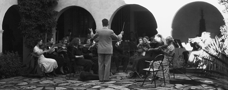 Concert in the central courtyard, now the South Courtyard, of the Heard Museum during the 1930s. RC8:56