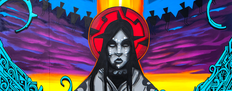 Mural by Thomas 'Breeze' Marcus for the 2014 Indian Fair & Market.