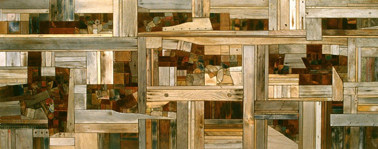 """Cumulated Landscape,"" 1976, wood, 48 × 120 × 3 in. Collection Minnesota Museum of American Art. Gift of Honeywell, Inc."