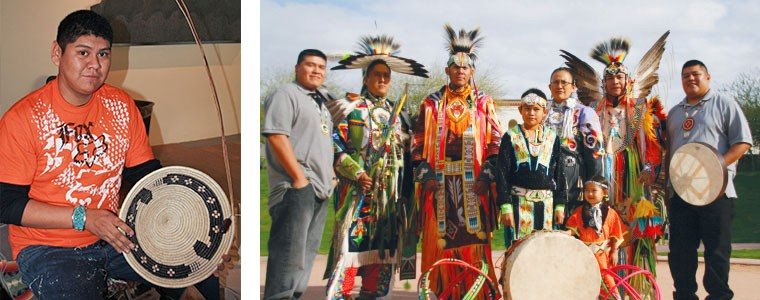 Left: Basket weaving demonstration. Right: Yellowhouse Indian Dancers will perform on Tuesday, Dec. 30.