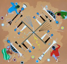 """""""Whirling Logs,"""" a drawing by 15-year-old Myron Denetclaw (Navajo), is the Best of Show Award winner at the 2015 Heard Museum Guild American Indian Student Art Show & Sale."""
