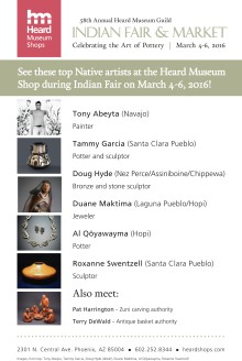 Artists appearing at the 2016 Guild Indian Fair in the Heard Museum Shop.