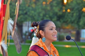 Shaylin Shabi (Navajo), Miss Native American USA 2012-13, sings the national anthem at a recent Veterans Day ceremony at the American Indian Veterans National Memorial on the Heard Museum grounds.