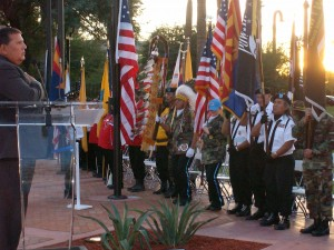 Retired Army Lt. Col. Joey Strickland (Choctaw) salutes the American flag during a 2012 Veterans Day ceremony at the American Indian Veterans National Memorial at the Heard Museum.