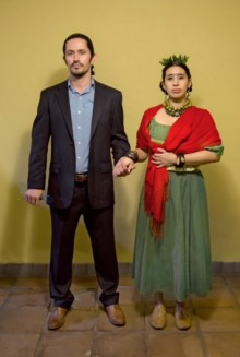 Photograph of Ramon Soto and Celia Duran in costume as Diego Rivera and Frida Kahlo.