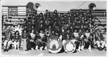 Phoenix Indian High School Band, circa 1950, at the school bleachers. Phoenix Indian School Collection, Billie Jane Baguley Library and Archives, Heard Museum, Phoenix, Arizona.