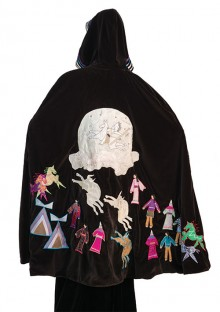 "Toni Williams (Arapaho), ""Creators Calling,"" 2015, ribbon, commercial cloth, Swarovski crystals, shell beads on velvet. Gift of the Heard Museum Council"