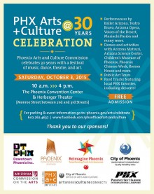 Poster describing the celebration of PHX Arts+Culture 30th anniversary on Oct. 3, 2015