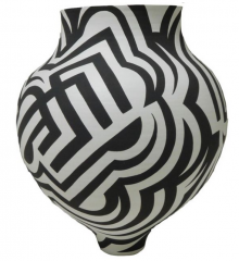 Black and white geometric pattern jar by Eric Lewis (Acoma)