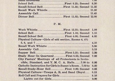 Monday schedule from the Annual Calendar at the Carlisle Indian School, 1915-1916. Carlisle Indian School Digital Resource Center, Teaching Kit