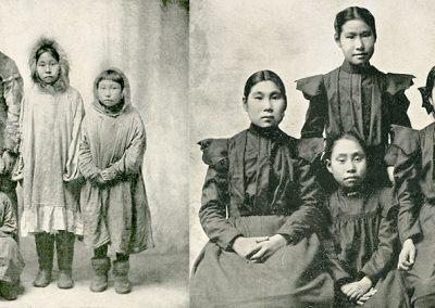 Black and white photos of Alaskan Native group of children in traditional parkas then in black Western late 19th C. dress.