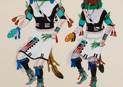 """Wilson Mowa (Hopi) """"Half Clown and Hunter Kachina Dancer and a Mudhead"""", 1973 Watercolor on paper This painting was made at Phoenix Indian School. The artist, after training in the Hopi Silvercraft Cooperative Guild, began making silver overlay jewelry. Gift of Art and Corinne Smith,3607-1"""