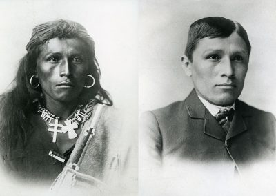 Black and white images (before and after) or young American Indian man in traditional dress and then Western dress.