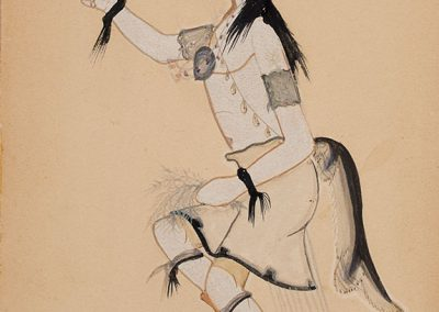 """Justino Herrera (Cochiti Pueblo), 1920-2006 """"Corn Dancer"""", 1940 Watercolor, pencil, ink on poster board Herrera made this painting while a student at Santa Fe Indian School (SFIS). Mr. Herrera continued painting after he finished school at SFIS in 1940. He mostly painted scenes of Pueblo life. Gift of Valona Varnum, 4183-7"""