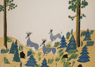 Drawing of a stylized forest with 3 deer running