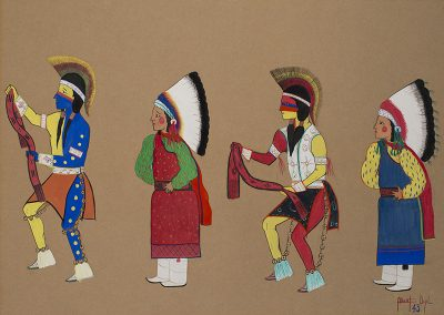 """Albert Vigil (San Ildefonso Pueblo), 1927-2009 """"Belt Dancer"""", 1943 Watercolor on paper This student painting was made at Santa Fe Indian School. The artist was the son of noted painter, Romando Vigil, and nephew of Maria Matinez, an internationally known potter. In 1945, Albert began making pottery with his wife, Josephine Cordova Vigil, from Taos Pueblo. She used traditional methods of hand-coiling and firing and Albert painted designs. Gift of Duane and Jean Humlicek, 4460-16"""