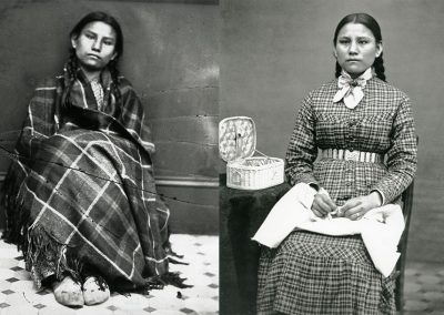 Black and white photos side by side of young American Indian girl. On the left she is sitting on the floor