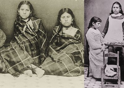 Black and white before and after photos of 3 young American Indian girls. Left image shows girls wrapped in plaid blankets sitting on the floor staring at the camera. Right images shows same girls posing for camera in western dresses in front of a checkerboard set.