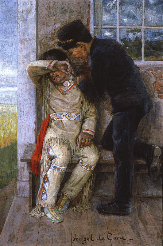 Late 19thC/early 20thC painting showing a young Native child in breechlout and leather clothing in a distraught state with his arm over his eyes being comforted by another boy in a European style military uniform who stands over him with his hand on the other's shoulder.