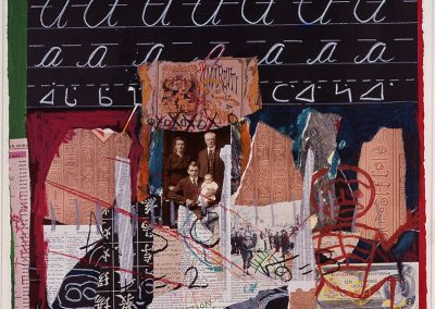 artwork collage showing old family photographs town pieces of paper and fabric and a blackboard with cursive practice