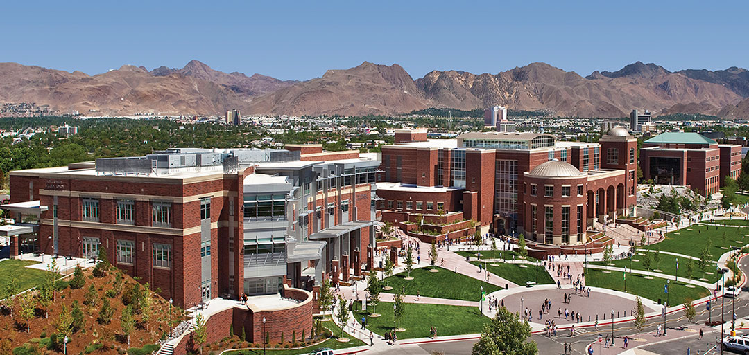 aerial view of University of Nevada campus in Reno