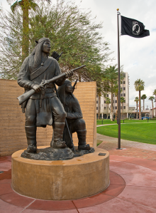 Unconquered II by Allan Houser (Chiricahua Apache), (1914-1994), 1994, bronze. On display in the American Indian Veterans National Memorial at Heard Museum, Phoenix.