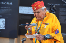 The Pledge of Allegiance at the dedication ceremony for this memorial was led by Navajo Code Talker Joe Kellwood. Kellwood was joined at the ceremony by fellow Code Talker Arthur Hubbard Sr.