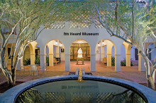 "Entrance to the Heard Museum, featuring the sculpture ""Earth Song"" by Allan Houser (Chiricahua Apache)."