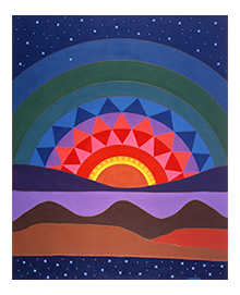 "Linda Lomahaftewa (Hopi/Choctaw), ""New Mexico Sunset"" 1978. Heard Museum Purchase, IAC2390."