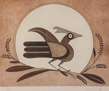 Helen Hardin (Santa Clara Pueblo, 1943-1984), Zia Bird, #1/50, 1980, copper plate etching. On loan from Helen Hardin #1's LLC – a Nevada Corporation