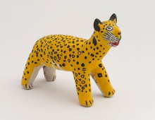 Photograph of jaguar figurine. Unknown artist (Mixtec people from Jamiltepec, Oaxaca, Mexico). Figurine of jaguar, 1979. Ceramic, paint. Purchased with funds provided by the Friends of Mexican Art (FOMA).