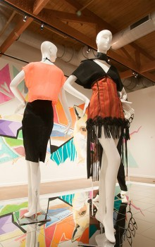 Photograph of mannequins featuring fashion by Darylene Martin in the exhibit Confluence.