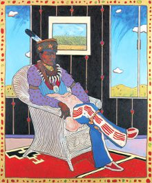 T.C. Cannon, Kiowa/Caddo, 1946– 1978 Collector #5 (Man in Wicker Chair) 1975, oil/acrylic