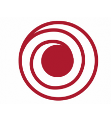First Friday logo consisting large red dot with red spiral lines.