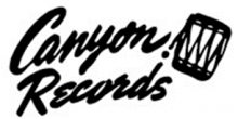 Logo with black and white script text which says Canyon Records next to a traditional drum