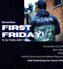 November First Friday poster featuring musical guest DJ This Just In