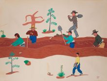 """Richard Chino, Acoma Pueblo. """"Irrigation Work,"""" student painting made at age 17 at Santa Fe Indian School, 1945. Termpera on paper. Gift of James T. Bialac. 4456-3"""