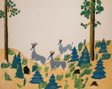 """Ernest Medina, Zia Pueblo. """"Forest"""" student painting made at age 15 at Santa Fe Indian School, 1950. Gift of James T. Bialac. 4456-4"""