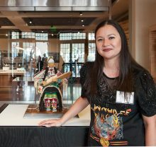 Jamie Okuma with her 2018 Best of Show winning sculpture
