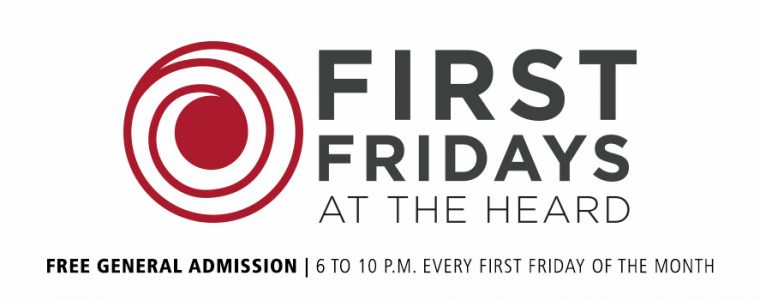 Round Circle Logo next to words First Fridays at the Heard