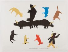 MARION TUU'LUQ Inuit, 1910-2002 Umingmak (muskox) Surrounded by Dogs, 1983 Stencil Heard Museum Collection Gift of Dr. and Mrs. E. Daniel Albrecht, ALB-P-11