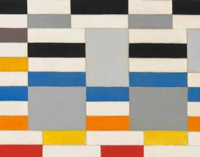 Geometric painting by Leon Polk Smith of stacked rectangles of white, red, blue, brown, red, and black, with staggered blocks of gray