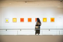 A guest views Josef Albers in Mexico. Photograph by Haute Photography
