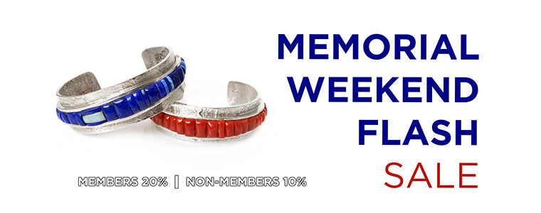 Banner with patriotic colored Native bracelets with text that reads Memorial Weekend Flash Sale. Members 20%, non-members 10%