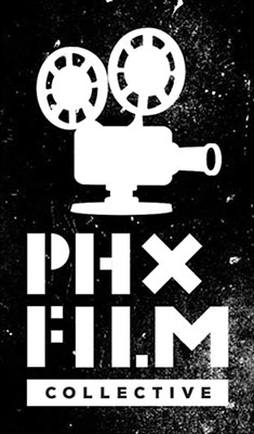 Black and white image of reel projector with text PHX Film Collective